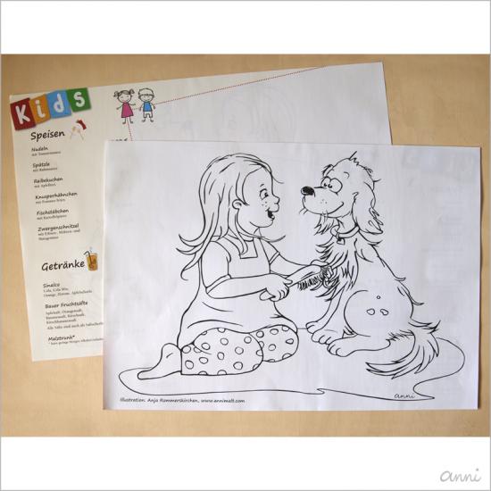 Brauhaus Knallhütte Speisekarte Ausmalbild Kind Hund