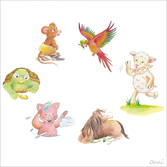 Friedolins Freunde Charaktere Maus Schwein Pferd Schaf Papagei Schildkröte