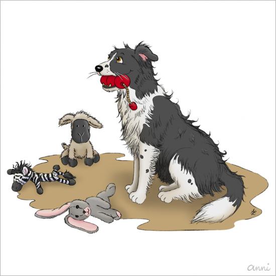 Hund Karikatur Bordercollie Spielzeug