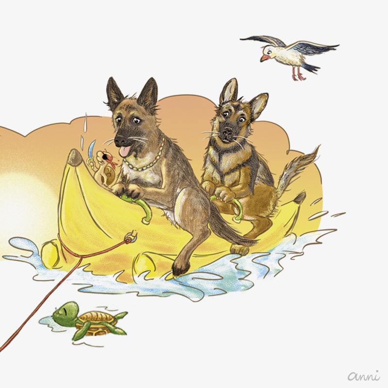 Hund Karikatur Schäferhund Bananenboot GRAU