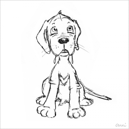 Hund Karikatur Welpe Sabbern