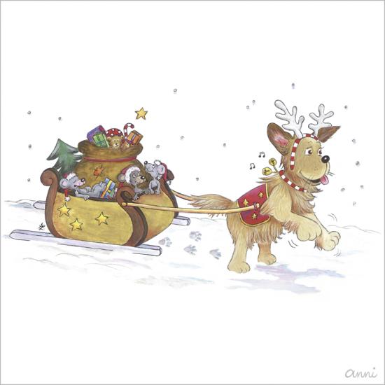 Hundeschule Weihnachten Schlitten Mäuse Hund