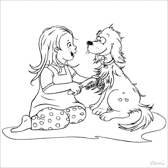 Ausmalbild Kind Hund Vektor