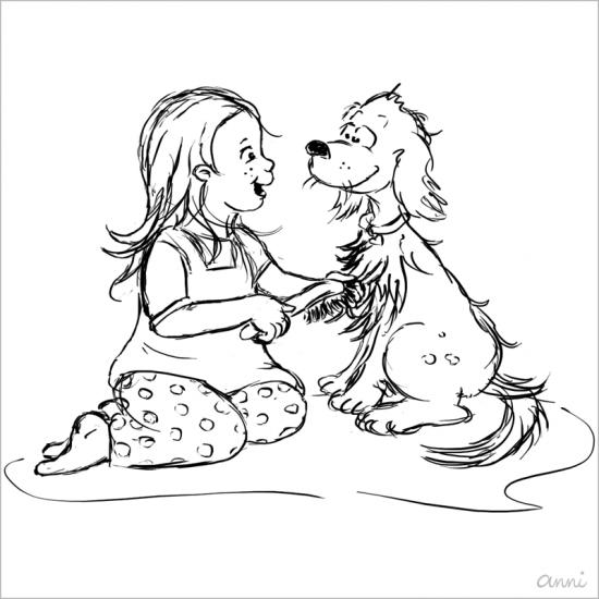 Ausmalbild Kind Hund Skizze