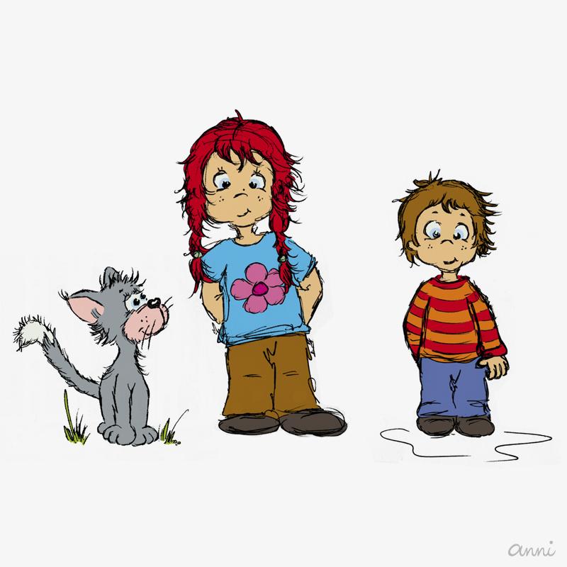 Cleos Dorf Kinder Katze Junge Mädel GRAU