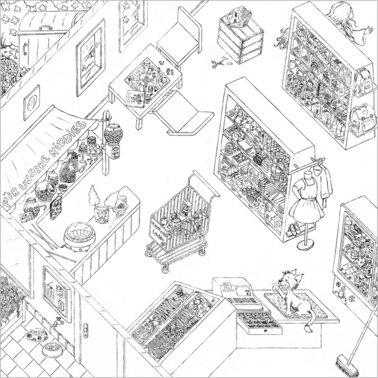 Cleos Dorf Spielplan Einkaufsladen Katze