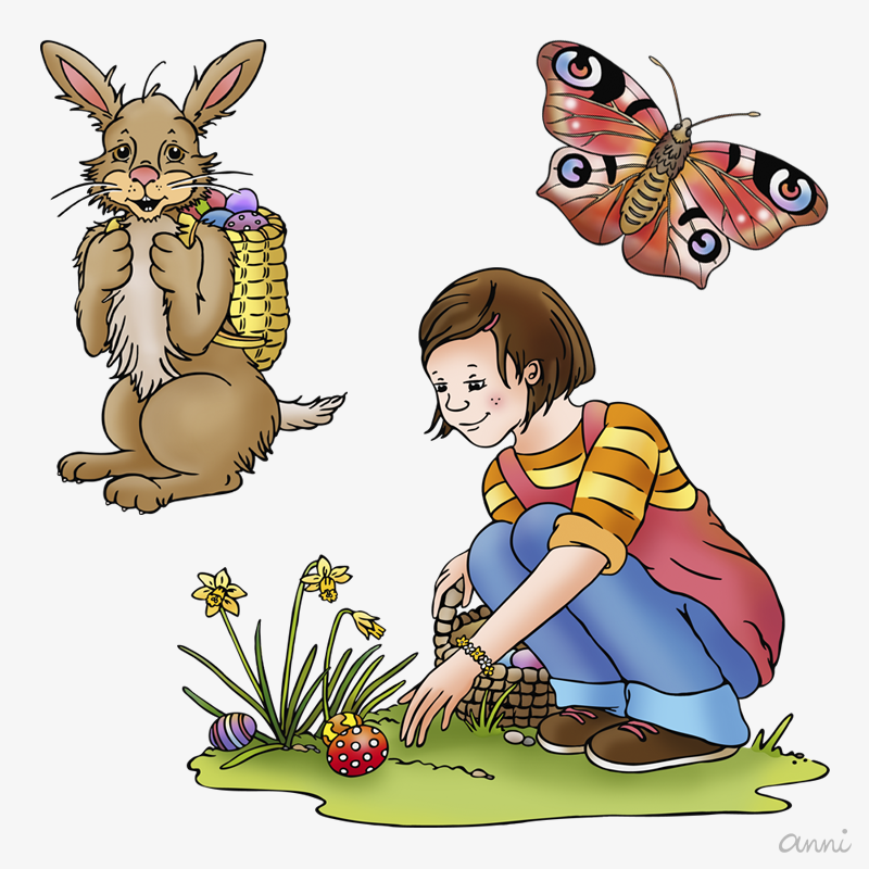 Ostern Frühling Kind Schmetterling Osterhase GRAU