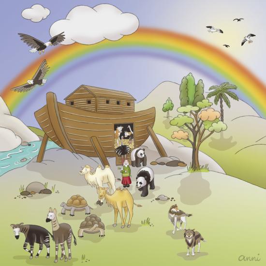 Arche Noah Tiere Regenbogen