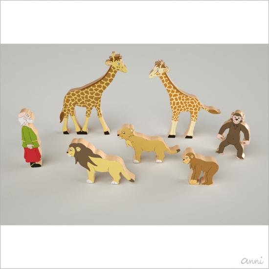 Arche Noah Tiere Spielfiguren Affe Giraffe Löwe