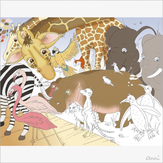 Arche Noah Tiere Giraffe Elefant Nilpferd Erdmännchen Zebra Flamingo Pinguin Papagei